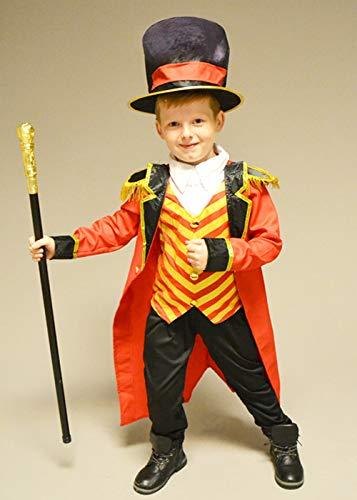 Boys Greatest Ringmaster Circus Show Fancy Dress Costume Kids Coat Hat Halloween