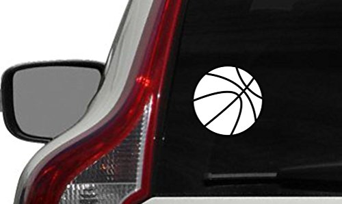 (Basketball Ball Sports Car Vinyl Sticker Decal Bumper Sticker for Auto Cars Trucks Walls Windows and More (WHITE))