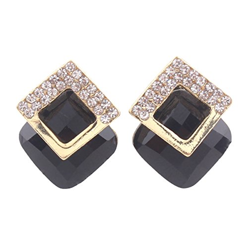 (Grace Jun Luxury Bridal Rhinestone Crystal Square Shape Clip on Earrings Non Piercing for Women Ear Clip (Black))