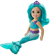 Barbie Dreamtopia Chelsea Mermaid Doll, 6.5-inch with Teal Hair and Tail, GJJ89, Multi