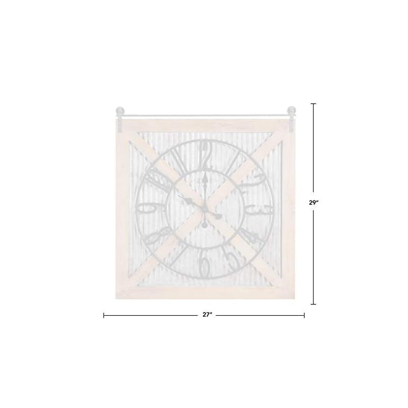 "FirsTime & Co. Fieldhaven Barn Door Wall Clock, 27"", Galvanized Metal, Wood, Brown (31115)"