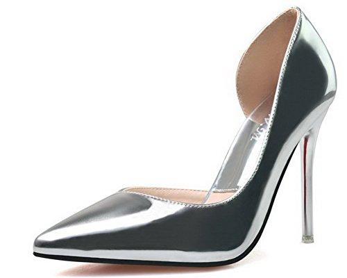 Aalardom Donna Materiale Morbido Solidi Spuntoni-stiletti Scarpe A Punta Scarpe-argento