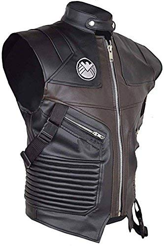 Cup Of Fashion Superhero Halloween Costume Vest - Men Cosplay Leather Merchandise (X-Large, Brown Eagle PU Leather Vest) -