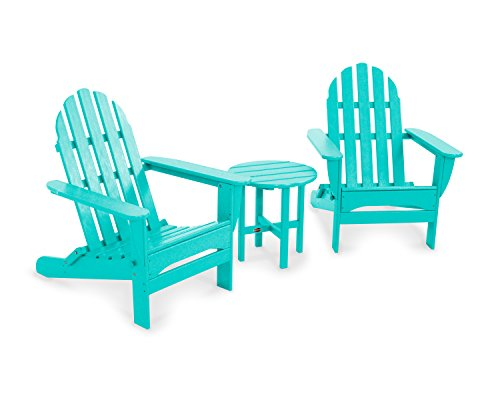 POLYWOOD PWS214-1-AR Classic Folding 3-Piece Adirondack Seating Set, Aruba
