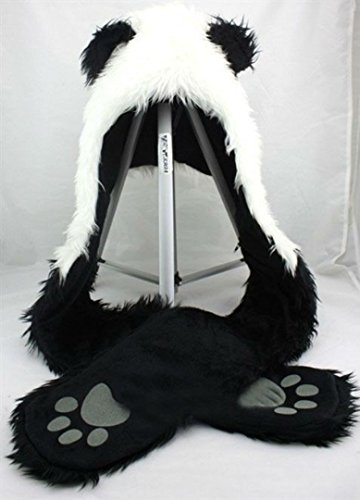 Panda Full Animal Hoodie Hat (Faux Fur) 3 in 1 Function