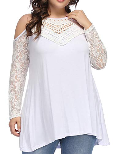 Hanna Nikole Casual Comfy Round Neck Long Sleeve Off Shoulder Plus Size Women Tops (3X,White) (White Round Top Off)