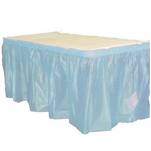 Exquisite Solid Color 14 Ft. Plastic Tablecloth Skirt, Disposable Plastic Tableskirts - Light Blue - 6 Count - 14' Table Light