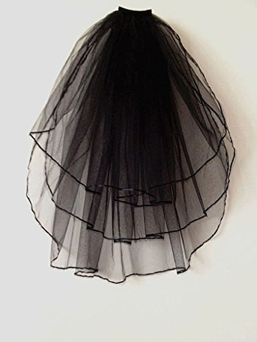 Vimans 2018 Women's Fashion Short Bridal Wedding Veils with Comb Black - http://coolthings.us