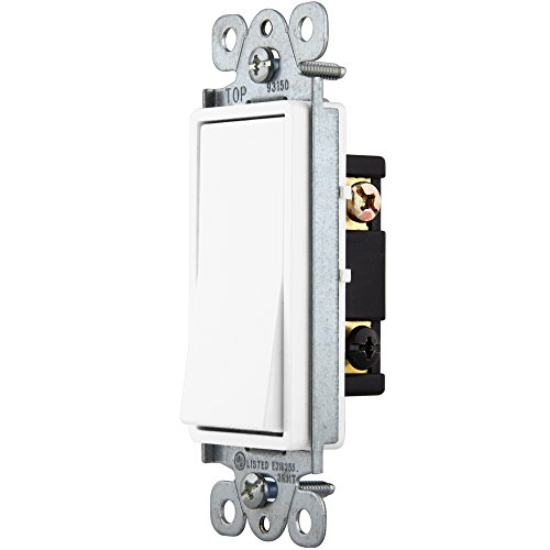 Enerlites 3-Way On/Off Rocker Light Switch 93150-White | 15 Amp, 120V/277V, Paddle, AC, Single Pole, 3 Wire, Grounding Screw, Residential Switch, UL Listed | White - 10 Pack by Enerlites (Image #3)