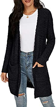 QIXING Women's Casual Open Front Cardigans Long Sleeve Chunky Knit Sweater Coat with Poc