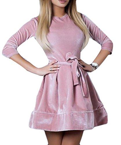 Delle Allacciato Donne 3 4 Velluto Vestito Linea Manica Rosa Cromoncent Altalena Una Midi YFnqHtZW