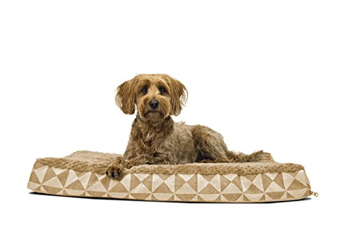 FurHaven Pet Dog Bed | Deluxe Orthopedic Plush Kilim Mattress Pet Bed for Dogs & Cats, Pyramid Latte, Medium