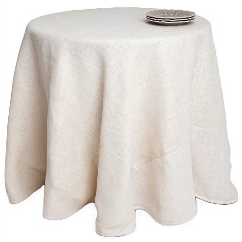 Single Piece Ivory Tablecloth ( 132''), Classic Contemporary Style, Jute Material, Solid Design Pattern, Round Shape, Round Burlap Tablecloth, Elegance, Suitable For Everyday, Off White by Patriot