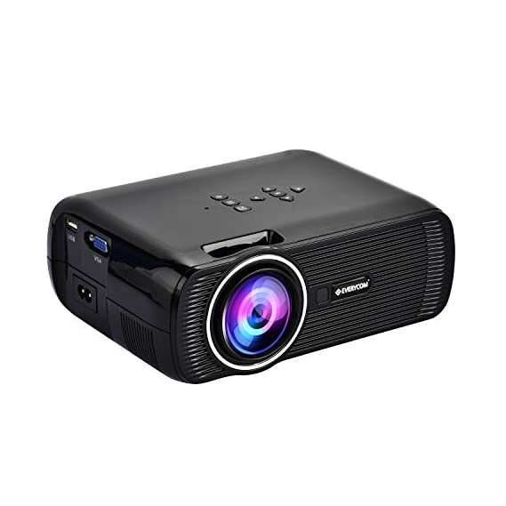Everycom X7 LED Projector Full HD 1080P Supported, Compatible with Smartphone, TV Stick, USB , HDMI, VGA, AV, Home Theatre