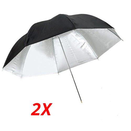 CowboyStudio 2X 40 inch Double Layer Black and Silver Photo Studio Reflector Umbrella by CowboyStudio