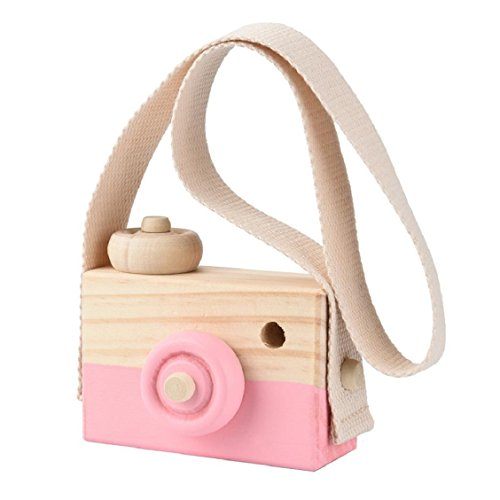 Price comparison product image Naladoo Wooden Mini Camera Toy Pillow Kids' Room Hanging Decor Portable Toy Gift (Pink)