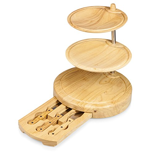 Toscana - A Picnic Time Brand Regalio Three-Tiered Cheese Board/Tool Set, 11-1/2 (Groove Wood Poles)