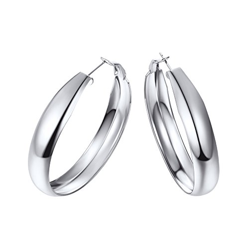 Stainless Steel Hoop Earrings 40mm Medium Sized Loop Earring Chic European Style Ear Jewelry