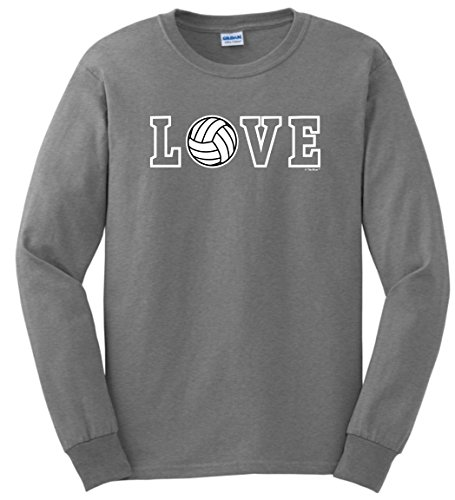 - Volleyball Net Volleyball Gifts Love Spelled with Volleyball Long Sleeve T-Shirt Small SpGry