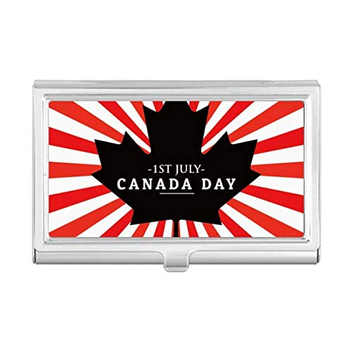 Happy Canada Day 4th of July Black Maple Leaf Business Card Holder Case Wallet