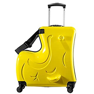 Children Suitcases Carry On Suitcases, Travel Suitcases with Wheels- yellow 20inch