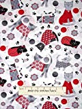 Cat Fabric - Knitty Kitty - Cat Toss - White - 100% Cotton - By The Yard
