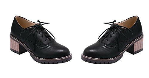 Amoonyfashion Mujer Solid Pu Kitten-heels Lace-up Round Cerrado-bombas De Punta-zapatos Negro