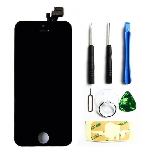 LCD Touch Screen Digitizer Frame Assembly Full Set LCD Touch Screen Replacement for iPhone 5S - Black