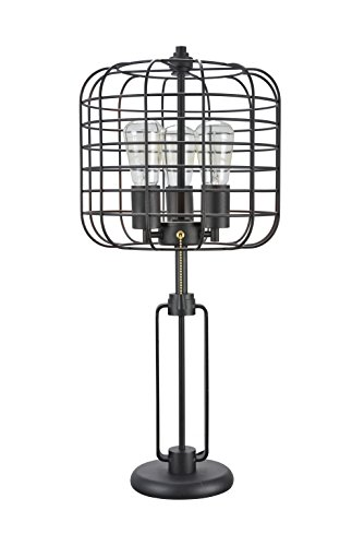 Aspen Creative 40086, Wire Cage Metal Table Lamp, Vintage Design in Sand Black 26