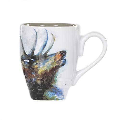 DEMDACO Dean Crouser Elk Watercolor Gray On White 12 Ounce Glossy Stoneware Mug With Handle