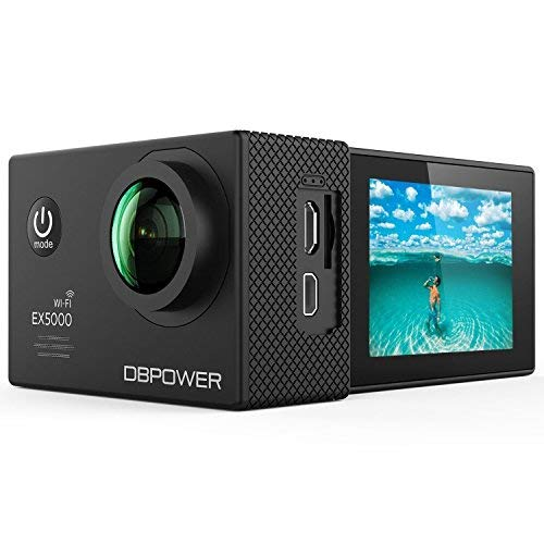 DBPOWER EX5000 Action Camera 14MP 1080P HD WiFi Waterproof Sports Cam 2 Inch LCD Screen 170 Degree Wide Angle Lens 98ft Underwater DV Camcorder With 16 Accessories Kits [並行輸入品]   B07H5HK2QL