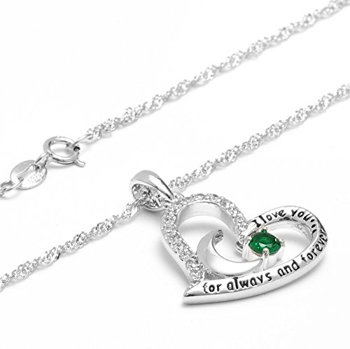 Dancing Birthstone Birthstone Jewelry I Love You For Always and Forever Emerald Pendant Necklace Birthstone Necklace (05-May-Emerald) by Anna Crystal Jewelry (Image #1)