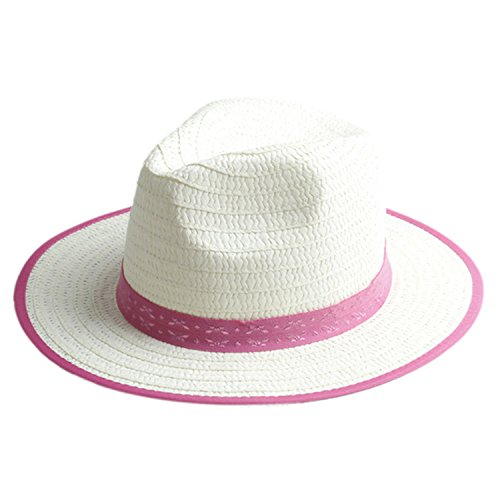 ylovego Fashion Summer Child Straw Sun Hats Cap Boy Girl Wide Brim Sunhat Kids Beach Hat Panama Hat with Ribbow Band 18 Rose red