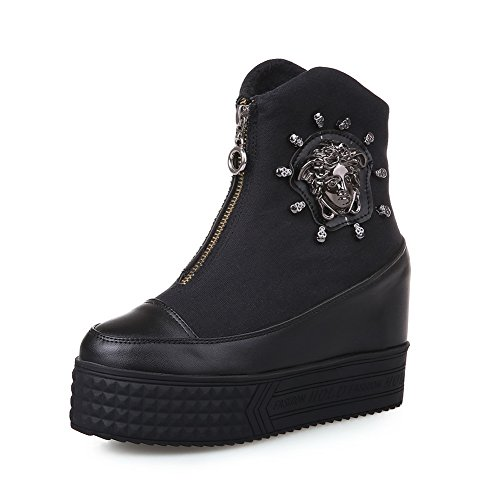BalaMasa Boots Leather Girls Metal Bottom Heel Thick Ornament Imitated Black Color Matching aarwx