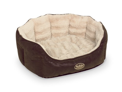 Nobby 71566 Komfort Bett Oval Natal für Hunde Oder Katzen, L x B x H: 45 x 40 x 19 cm, braun/beige