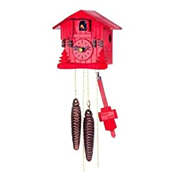 Beautiful House Design Cuckoo Clock with One Day Movement in Red Color 5.4 Inch