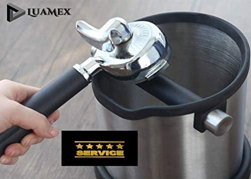 Luamex Barista Recipiente para posos de caf/é acero inoxidable, con varilla extra/íble, incluye cuchara dosificadora