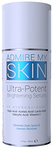 2% Hydroquinone Dark Spot Corrector Remover For Face & Melasma Treatment Fade Cream - Contains Vitamin C, Salicylic Acid, Kojic Acid, Azelaic Acid, Lactic Acid Peel (1oz) (Best Facial Sunscreen For African American Skin)