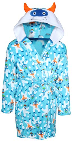 Only Boys Plush Fleece Animal Character Hooded Robe, Light Blue Snowman, Size 8/10\''