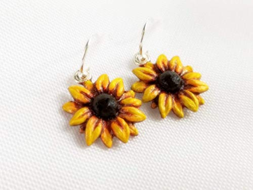 Yellow Sunflower Earrings - Hand Painted Nature Jewelry ()