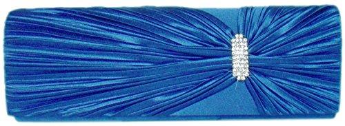 Damen Satin Handtasche,Clutch- m.Strass Blau
