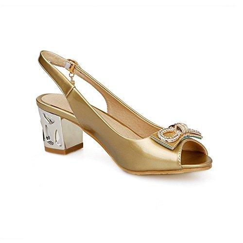 BalaMasa Womens Buckle Kitten-Heels Outdoor Imitated Leather Sandals Gold EYZeZTjRD