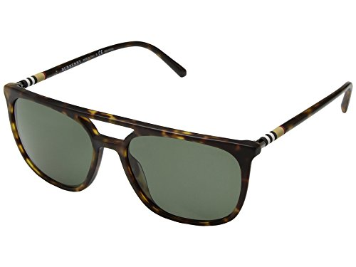 Burberry  Men's 0BE4257 Matte Dark Havana/Polarized Green One - Burberry Polarized Sunglasses