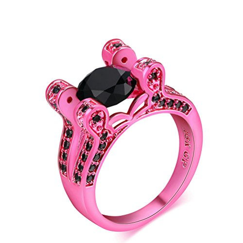 pink and black diamond ring - 7