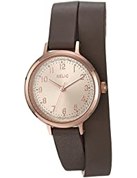 Women's 'Reece' Quartz Metal and Leather Casual Watch, Color:Grey (Model: ZR12225)