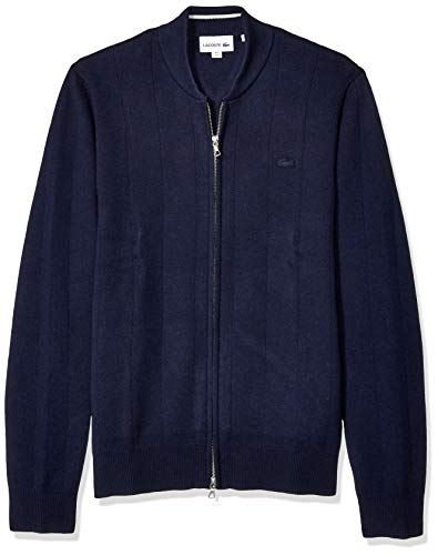 Lacoste Men's Long Sleeve Pinstriped Front Zip Sweater, Navy Blue/geode, Small