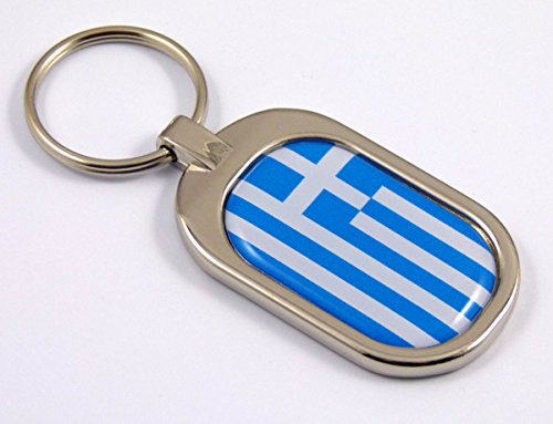 Metal Keychain Chrome Key Ring (Greece Flag Key Chain Metal Chrome Plated Keychain Key fob keyfob Greek)