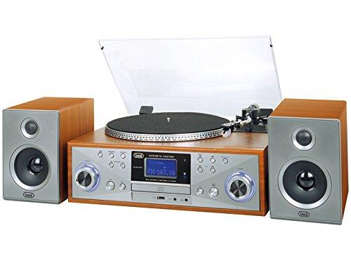 Trevi TT 1100 E - Tocadiscos (Tocadiscos de tracción por Correa, Madera, 45 RPM, Giratorio, FM, MP3)