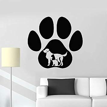 Etiqueta de la pared con estampado de pata animal amor perro gato tienda de mascotas clínica veterinaria habitación para niños puerta y ventana interior pegatina de vinilo papel tapiz regalo 74x78cm