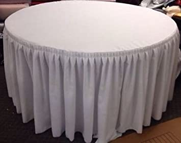 Amazon.com: 60 Inch Round Table Skirt Double Pleated Table Cover Polyester  With Top Topper White: Home U0026 Kitchen